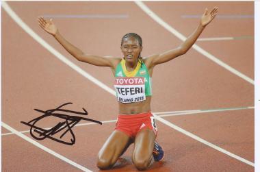 Senbere Teferi  Äthiopien  5000m  2.WM 2015  Leichtathletik Foto original signiert