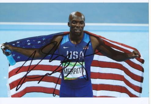 LaShaw Merritt  USA  400m  3.OS  2016  Leichtathletik original signiert