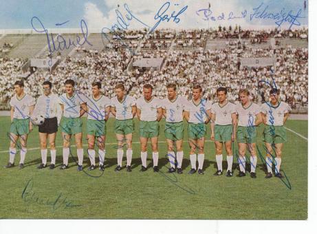 SV Werder Bremen  1965  Fußball Mannschaftskarte  16 x original signiert