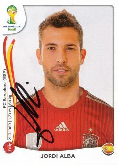 Jordi Alba  Spanien Panini Sticker WM 2014 mit Unterschrift - 230097