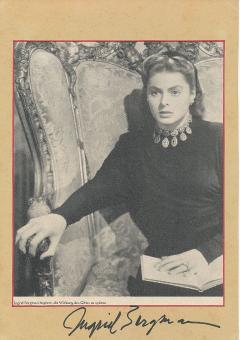 Ingrid Bergman † 1982  Film + TV  Autogramm 20 x 30 cm Karte original signiert