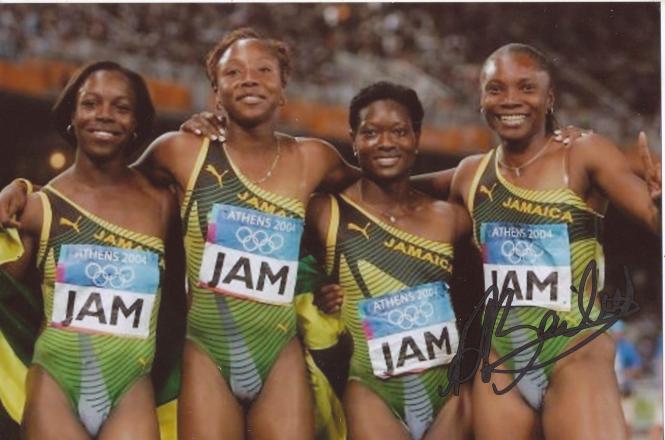 Sherone Simpson  Jamaika  4 x 100m  1.OS 2004  Leichtathletik Foto original signiert